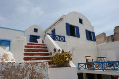 Blue windows in the house on Santorini Island. Royalty Free Stock Photography