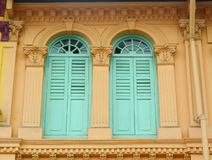 Blue windows at the house in Singapore Royalty Free Stock Image