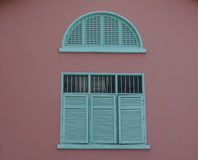 A blue windows at old house in Chinatown, Singapore Stock Image