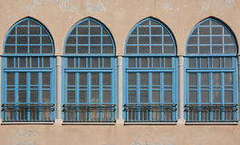 Blue windows - Oriental style Royalty Free Stock Images
