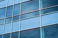 Blue squares window office modern perspective background. Blue windows perspective background square corporate design Royalty Free Stock Photography