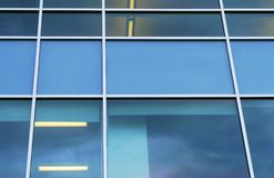 Blue windows perspective background square corporate design. Blue squares window office modern perspective background Royalty Free Stock Photography