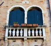 Blue windows in Venice, Italy Royalty Free Stock Photos
