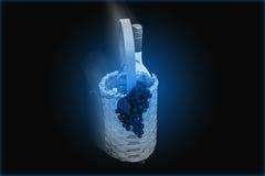 Blue Wine Bottle in Basket Royalty Free Stock Image