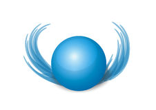 Blue wings 3d ball. 3d blue ball with wings Royalty Free Stock Photos
