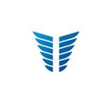 Blue wings heraldic symbol. Heraldic Coat of Arms decorative log Royalty Free Stock Photos