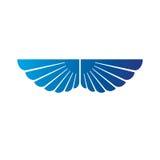 Blue wings heraldic symbol. Heraldic Coat of Arms decorative log Royalty Free Stock Images