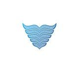 Blue wings heraldic symbol. Heraldic Coat of Arms decorative log Stock Images