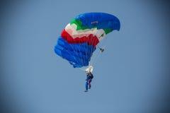 Blue Wings hoppa fallskärm förklädet Royaltyfri Foto