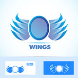 Blue wings logo Stock Photo
