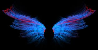 Blue wings with red line. On black background Royalty Free Stock Photo