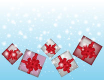 Blue winter abstract background with gifts. Stock Photography