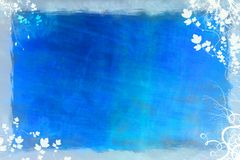 Blue winter background. Blue wintery background photo with border Stock Photo