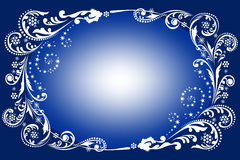 Blue winter background. Borders - Blue winter Christmas background with white pattern, snowflakes and stars Stock Image