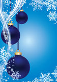 Blue Winter background. With snowflakes and blue New Year's balls Royalty Free Stock Images