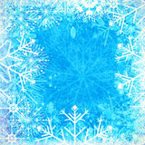 Blue winter background. Blue winter card with ice crystals and snowflakes royalty free illustration