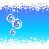 Blue winter background with Christmas balls Royalty Free Stock Photography