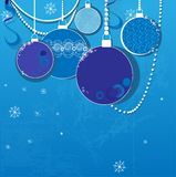 Blue winter background with Christmas balls Stock Photography