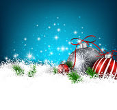 Blue winter background with christmas balls. Royalty Free Stock Photo