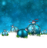 Blue winter background with christmas balls. Blue christmas background with fir branches and balls. Vector illustration vector illustration