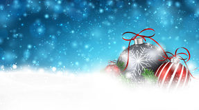 Blue winter background with christmas balls. Royalty Free Stock Images
