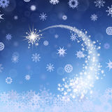 Blue Winter Background. Falling Star. Snowflakes Pattern Stock Images