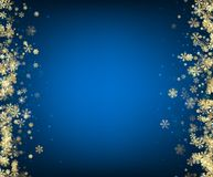Blue winter background with snowflakes. Abstract blue winter background with gold snowflakes. Christmas decoration. Vector illustration Stock Image
