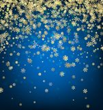 Blue winter background with snowflakes. Abstract blue winter background with gold snowflakes. Christmas decoration. Vector illustration Stock Images