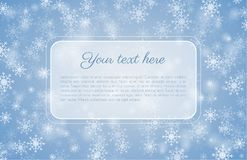 Blue winter background with snowflakes and copy space. Blue winter background with copy space and advertising area. Vector illustration with snowflakes Royalty Free Stock Images