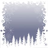 Blue winter background with white snowfall and shapes fir forest, design elements, vector. Illustration Stock Photography