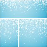 Blue winter backgrounds with snowflakes. Blue winter backgrounds set with white snowflakes. Vector illustration Royalty Free Stock Images
