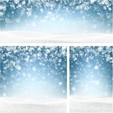 Blue winter backgrounds with snowflakes. Blue shiny winter backgrounds set with landscape and snowflakes. Vector illustration Stock Image