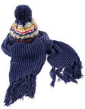 Blue winter scarf with knit hat isolated on white background Stock Images