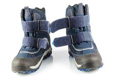 Blue winter boots. With fastener isolated on white background Stock Photos