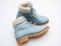 Blue winter boots Stock Photography