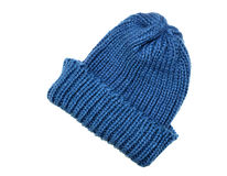 Blue winter cap. Isolated on white Stock Photography