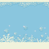 Blue winter Christmas background with glittering snowflakes. Seamless horizontal New Year pattern. Vector illustration Stock Photos