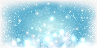Blue Winter Christmas background with landscape, snowflakes, light, stars. Xmas and New Year card. Vector Illustration vector illustration