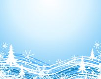 Blue Winter Christmas Border. A background border illustration featuring a n abstract winter scene with trees and snowflakes in blue and white Royalty Free Stock Image