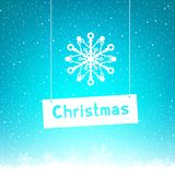 Blue winter Christmas text snowflake Royalty Free Stock Photography