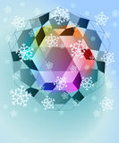 Blue winter cubic shapes with snow Royalty Free Stock Photos