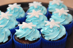 Blue winter cupcakes Royalty Free Stock Image