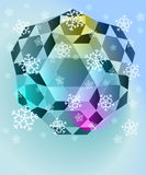 Blue winter diamond with falling snow vector Stock Image