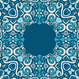 Blue winter Ethnic Vector ornamental Frame Royalty Free Stock Photography