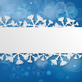 Blue winter Festive background with snowflakes Stock Photos