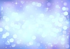 Blue winter festive lights, vector background. Royalty Free Stock Photo