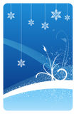 Blue winter floral card. Blue winter snowflake floral design card Royalty Free Stock Image