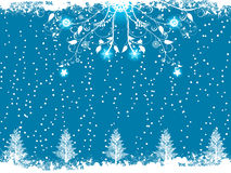 Blue winter flourish and christmas tree background Royalty Free Stock Photography