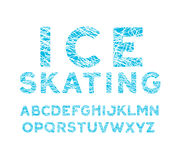 blue winter font. alphabet with cross-hatched letters like traces of skates on the ice. Stock Image