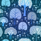 Blue winter forest seamless pattern Royalty Free Stock Photography
